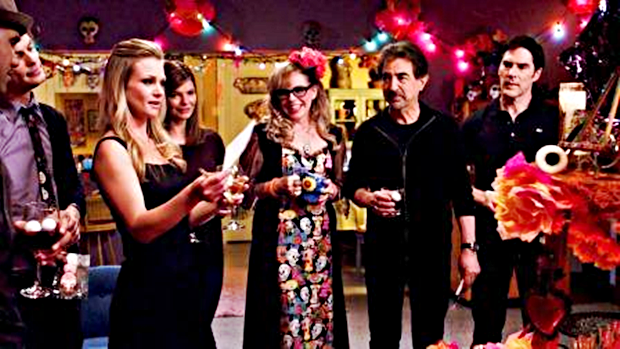 Spencer Reid, Derek Morgan, Aaron Hotchner, Penelope Garcia, Alex Blake and Dave Rossi all look on as JJ pays tribute to her sister.