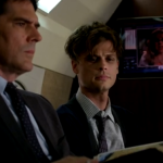 "Thomas Gibson as Aaron Hotchner with Matthew Gray Gubler as Dr. Spencer Reid in episode 9x06, ""In The Blood""."