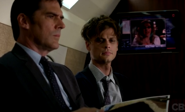 """Thomas Gibson as Aaron Hotchner with Matthew Gray Gubler as Dr. Spencer Reid in episode 9x06, """"In The Blood""""."""